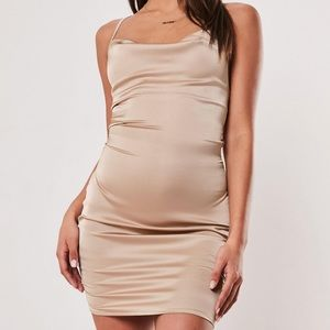 missguided stone satin dress